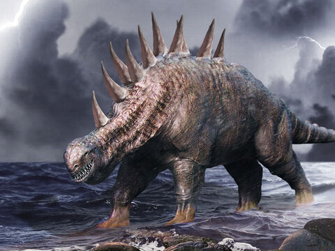 'After this I saw in the night visions, and behold, a fourth beast, terrifying and dreadful and exceedingly strong. It had great iron teeth; it devoured and broke in pieces and stamped what was left with its feet. It was different from all the beasts that were before it, and it had ten horns.' – Slide 5