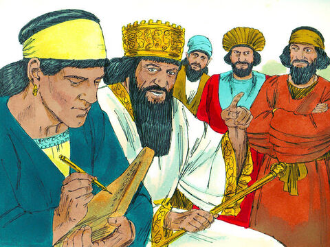 So they went to see the king and said, 'King Darius, all who rule your empire want you to order, that for thirty days, no one is allowed to pray to any god, only Your Majesty. Anyone who breaks this law is to be thrown into a pit filled with lions.' King Darius signed the law - and laws of the Medes and Persians could not be changed. – Slide 6