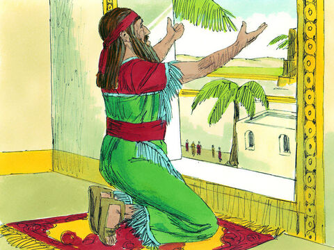 When Daniel learned that the order had been signed, he went home. In an upstairs room of his house he knelt down at the open windows that faced toward Jerusalem and prayed to God three times a day. – Slide 7