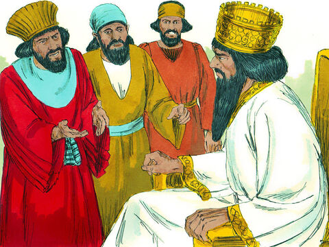 Daniel's enemies went to the king, 'Your Majesty, Daniel does not obey the order you issued. He prays to his God regularly three times a day. He must be thrown into a pit filled with lions.' – Slide 8