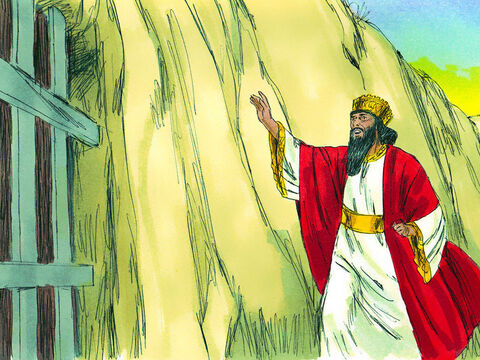 At dawn the king got up and hurried to the pit.  'Daniel, servant of the living God!' he cried out. 'Was the God you serve so loyally able to save you from the lions?' – Slide 11