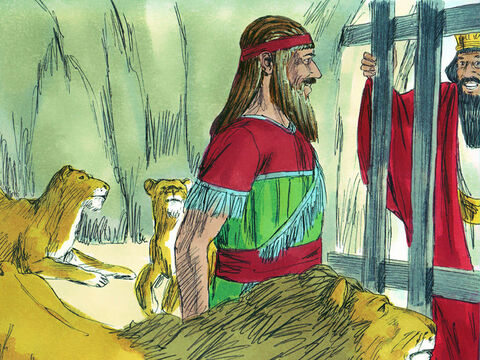 Daniel answered, 'May your Majesty live forever! God sent His angel to shut the mouths of the lions so that they would not hurt me. He did this because I was innocent.' The king was overjoyed and gave orders for Daniel to be pulled out of the pit. – Slide 12