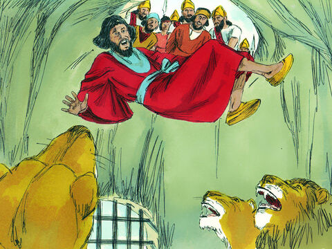The king then commanded those who had accused Daniel, to be arrested and thrown into the pit filled with lions. The lions pounced on them and broke all their bones. – Slide 13