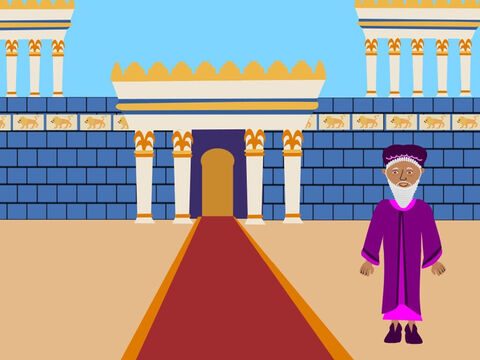This is the story of a man called Daniel who loved and obeyed God. He was a Jew and he lived in the city of Babylon. He worked for the King of Babylon who liked him because he was so wise. – Slide 1