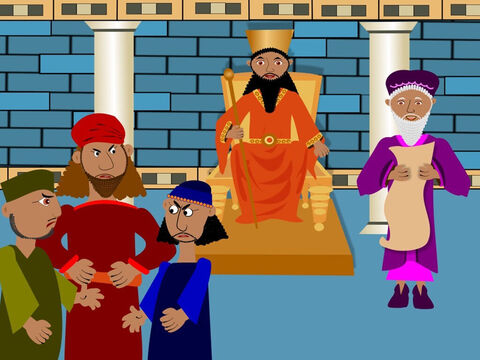 Daniel was very happy but there were some men in the palace who didn't like him. They were jealous because he was the King's favourite worker. These men hated Daniel and wanted to get him into trouble. – Slide 5