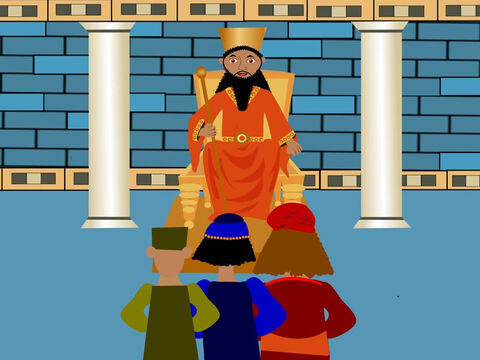 One day the men who hated Daniel thought of a way to get him into trouble. They went to see the king and told him about a new rule he could make. Every person in Babylon must only pray to the king and not to anyone else or they would be thrown to the lions. – Slide 7