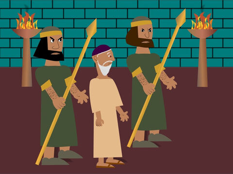 At once, the men went and told the king all about Daniel and how he had broken the new rule. The king was very, very sad because he really liked Daniel but there was nothing he could do and in the evening he sent his soldiers to arrest him. – Slide 11