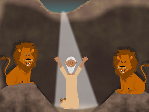 When Daniel landed in the lions' den he was very frightened. The lions had big sharp teeth and began to walk towards him. At once, Daniel began to pray to God asking Him for help. – Slide 13