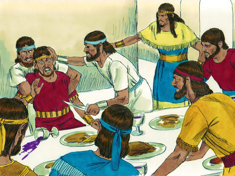 Two years later, Absalom got his servants to get Amnon drunk and then murdered him. King David mourned many days for his son. – Slide 3