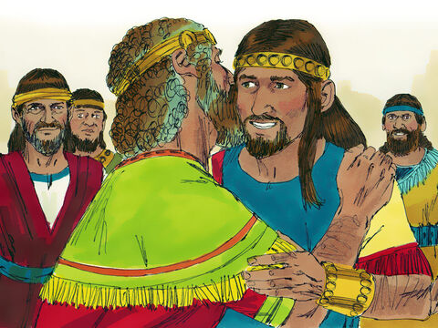David summoned Absalom to come back to Jerusalem and although he would not see him immediately he later sent for Absalom. Absalom arrived and bowed face down before his father who kissed him. – Slide 6