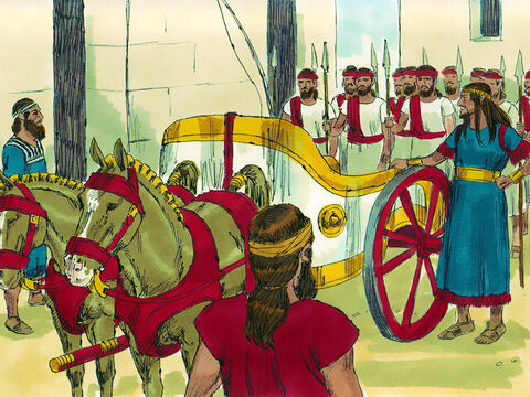 Absalom became very proud. He provided himself with chariot and horses and fifty men to run ahead of him. Everyone praised him for his handsome appearance. Absalom was particularly proud of his hair, which he cut once a year. The weight of the cut hair was 200 shekels (2.2 kg or 5 pounds). – Slide 7