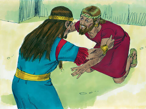 And when anyone came to bow to him, Absalom wouldn't let him, but shook his hand instead! So in this way Absalom became very popular with the people of Israel. – Slide 10