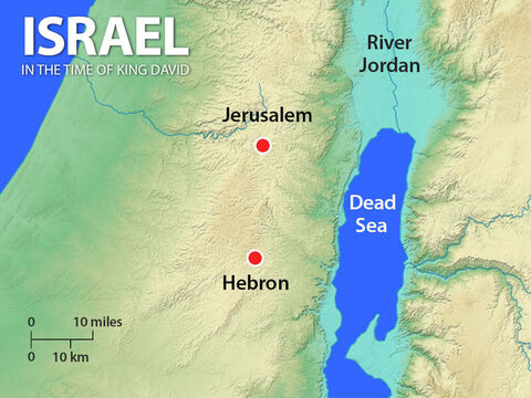 Absalom and 200 of his guests went to Hebron. When he got there he sent messengers to every part of Israel to announce, 'As soon as you hear the trumpets you will know that Absalom has been crowned in Hebron.' – Slide 13