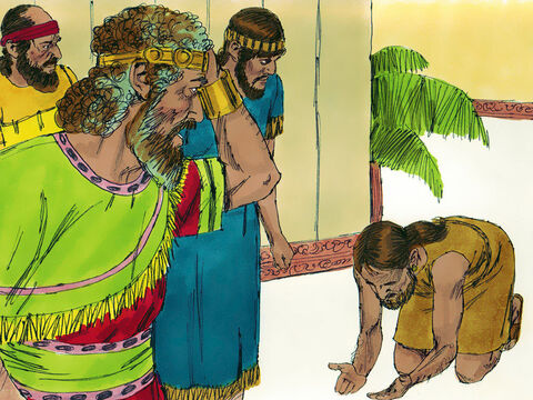 A messenger soon arrived in Jerusalem to tell King David, 'All Israel has joined Absalom in a conspiracy against you!' David decided to flee the city with his household and 600 loyal troops. – Slide 15