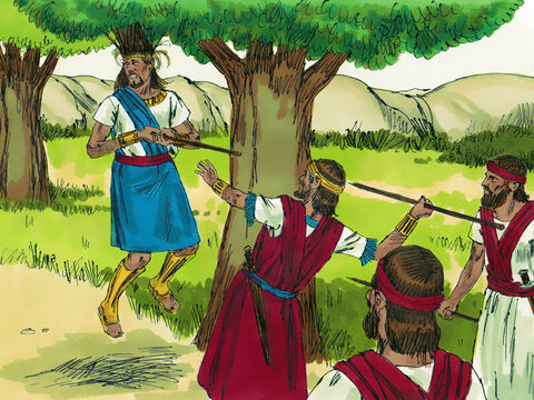 "Joab asked the man why he had not killed Absalom. 'We all heard the king say to you and Abishai and Ittai, ""For my sake, please don't harm young Absalom,""' the soldier replied. 'Enough of this nonsense,' Joab replied. Then he took three daggers and plunged them into the heart of Absalom as he dangled from the oak.  – Slide 20"