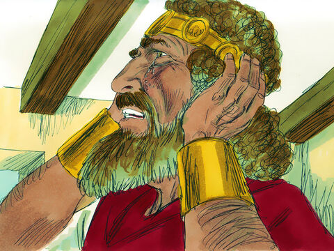 Then the king burst into tears, and went up to his room wailing, 'Omy son Absalom, my son, my son Absalom. If only I could have died for you! OAbsalom, my son, my son.' As people heard of the king's deep grief for his son, the joy of victory was turned into deep sadness. David later retuned to Jerusalem to reign as King of Israel once more. – Slide 24