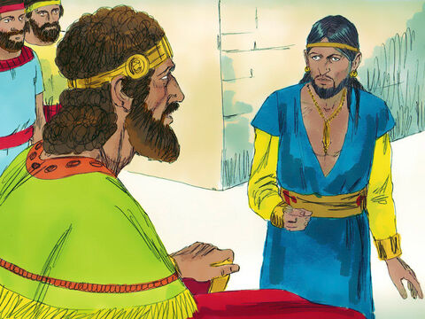 King David was told that King Nahash of the Ammonites had died and his son Hanun had succeeded him as King. – Slide 1