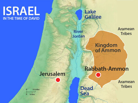 The Ammonites lived in the Kingdom of Ammon to the East of King David's kingdom on the other side of the River Jordan. King Nahash had shown kindness to David so David sent envoys from Jerusalem to express his sympathy to Hanun. – Slide 2