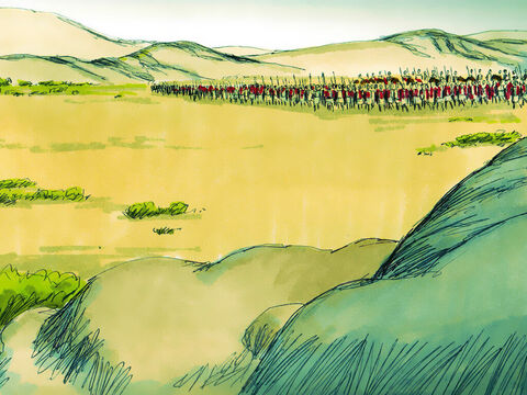 When David heard how his envoys had been humiliated, he told them to stay in Jericho until their beards had grown again. The Ammonites knew David would retaliate so they hired 33,000 fighting men from the nearby Aramean tribes. These men assembled in the plain outside the city. – Slide 5