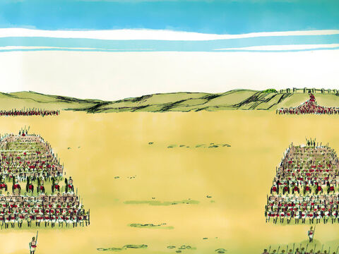 David sent Joab with his entire army of fighting men into Ammon. Joab split his soldiers into two groups, one under his command and the other under the command of his brother Abishai. The best fighters were put in the group to fight the Arameans. The other group faced the Ammonites. Joab then announced, 'Be strong, and fight bravely for our people and our God. The Lordwill do what is good in his sight.' – Slide 7