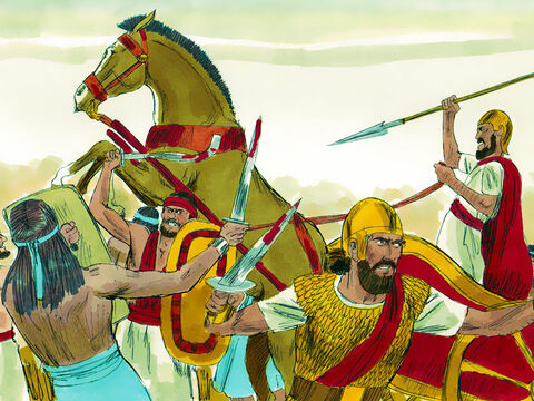Joab and the troops with him advanced to fight the Arameans, and they fled before him. – Slide 8