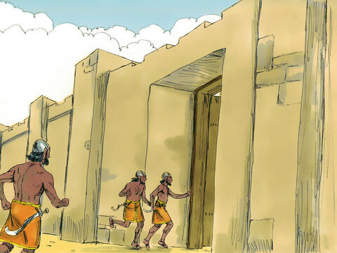 When the Ammonites realised that the Arameans were fleeing, they fled and went back inside the city. – Slide 10