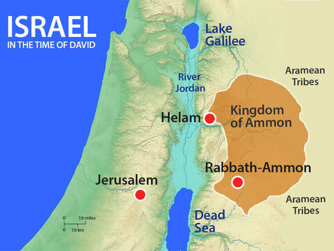 Joab returned to Jerusalem. The Arameans who had been routed by Israel, then regrouped. They sent messengers beyond the River Euphrates to gather more Aramean troops. – Slide 11