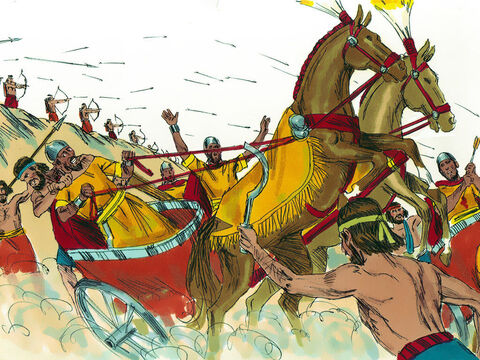 David attacked the Aramean battle lines and they fled before him. David's soldiers killed seven hundred of their charioteers and forty thousand of their foot soldiers. Shobak, the commander of their army, was struck down and died. – Slide 13