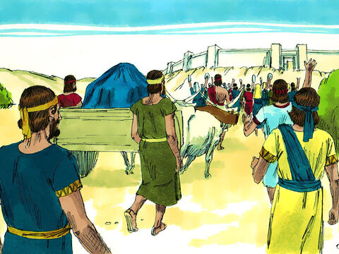 The whole of Israel assembled at Kireth-jearim and the Ark of God was put on a new cart with Uzzah and Ahio guiding it. They did not think it was important to obey God's instruction that the Ark was only to be moved by the Levites. – Slide 7