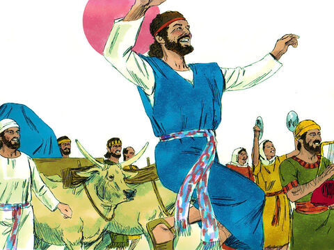 David and all the Israelites were celebrating with all their might before God, with songs and with harps, lyres, tambourines, cymbals and trumpets. – Slide 8