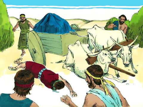 When they came to the threshing-floor of Kidon, Uzzah reached out his hand to steady the Ark, because the oxen stumbled. The Lord's anger burned against Uzzah, and he struck him down because he had put his hand on the Ark. He died on the spot. – Slide 9