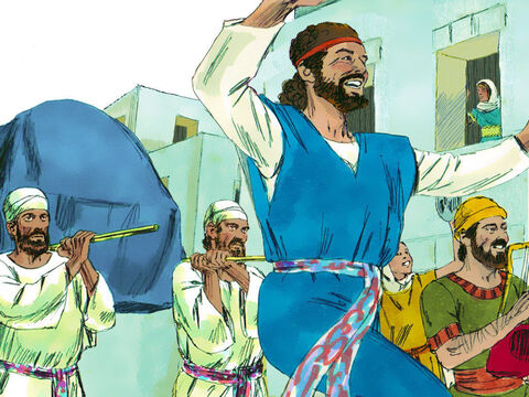 As the Ark of the Covenant was entering Jerusalem, David's wife Michal, daughter of Saul, watched from a window. When she saw King David dancing and celebrating, she despised him in her heart. – Slide 16