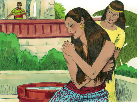 One evening David walked around on the roof of the palace and saw a very beautiful woman washing. David sent someone to find out who she was. He was told she was Bathsheba, the wife of Uriah the Hittite who was away fighting in David's army. – Slide 2