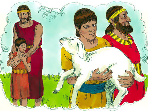 'Now a traveller came to the rich man, but instead of taking one of his own sheep to prepare a meal for the traveller, he stole the ewe lamb that belonged to the poor man. He killed the lamb and prepared it as a meal for his guest.' – Slide 13