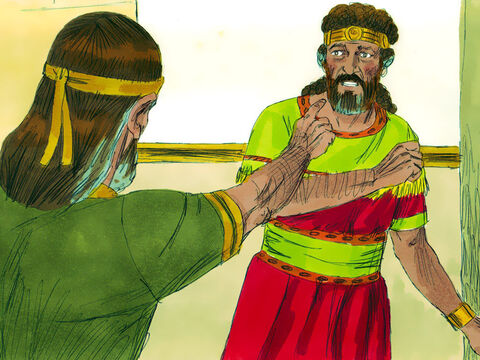 """Nathan then said to David, 'You are that man! This is what the Lord says, """"I anointed you king over Israel, and I delivered you from Saul.I gave your master's house and wives. I gave you all Israel and Judah. And I would have given you even more.Why did you disobey and do such evil? You murdered Uriah the Hittite and took his wife to be your own. From now on bloodshed shall never depart from your family.""""' – Slide 15"""