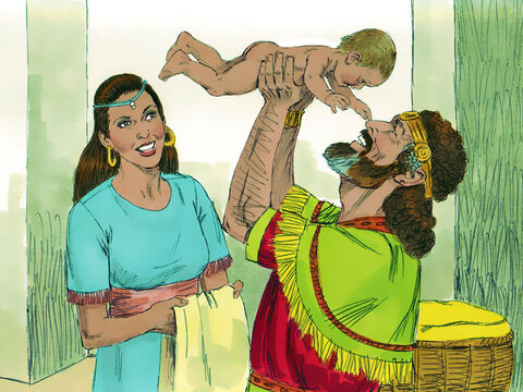 Some time later David and Bathsheba had another baby boy whom they named Solomon. The Lord loved him and sent word through Nathan the prophet to bless him with the name Jedidiah meaning 'Friend of God'. Solomon grew up to become the next King of Israel. – Slide 19
