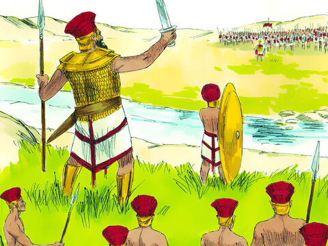The Philistines gathered for battle against the Israelites. The Philistines lined up on one hill and the Israelites on another, with a valley between them. – Slide 1
