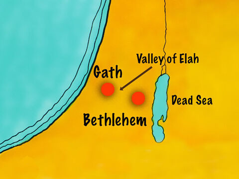 King Saul and the Israelites were camped in Elah Valley. A man named Goliath, from the city of Gath, came out from the Philistine camp to challenge the Israelites. – Slide 2