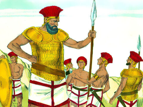 Goliath was over 7 feet tall and wore bronze armor that weighed about 125 pounds. His legs were also protected by bronze armor, and he carried a bronze javelin. The iron head on his spear weighed about fifteen pounds. A soldier walked in front of him carrying his shield. – Slide 3