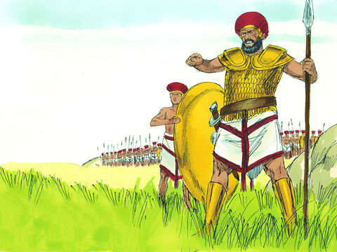 Goliath shouted at the Israelites, 'Choose one of your men to fight me. If he wins and kills me, we will be your slaves; but if I win and kill him, you will be our slaves. I dare you to pick someone to fight me!' Saul and his men were terrified. – Slide 4