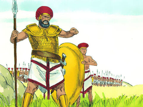 Goliath challenged the Israelites every morning and evening for forty days. – Slide 7