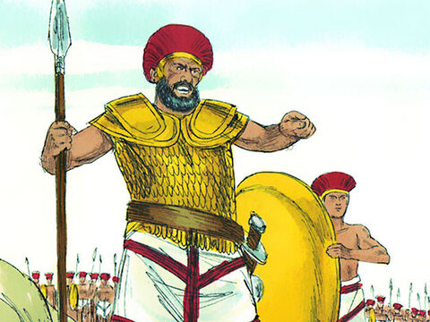 David took the food to the officer in charge of the supplies then ran to the battle line to see his brothers. As he was talking with them, Goliath came forward and challenged the Israelites. When the Israelites saw Goliath, they ran away in terror. – Slide 9