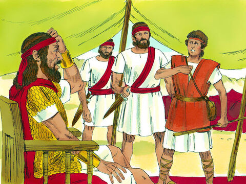 David was taken to King Saul, 'Your Majesty,' said David, 'no one should be afraid of this Philistine! I will go and fight him.' 'No,' answered Saul. 'How could you fight him? You're just a boy, and he has been a soldier all his life!' – Slide 11