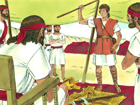 """""""Go, and the Lord be with you,' Saul replied. He gave David his armour but when David tried it on he said, 'I can't fight with all this, I'm not used to it.' – Slide 13"""