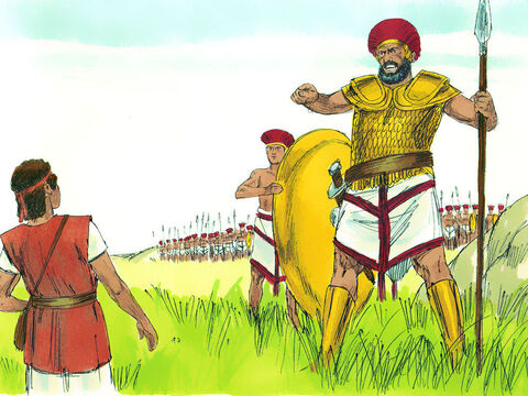 Instead, he took his shepherd's stick and then picked up five smooth stones from the stream and put them in his bag. With his sling ready, he went out to meet Goliath. Goliath started walking toward David, with his shield bearer walking in front of him. 'What's that stick for?' he shouted at David. 'Do you think I'm a dog?' – Slide 14