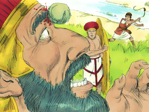 As Goliath started walking toward David again, David ran quickly toward the Philistine. He reached into his bag and took out a stone, which he slung at Goliath. It hit him on the forehead, breaking his skull, and Goliath fell face downward on the ground. – Slide 16