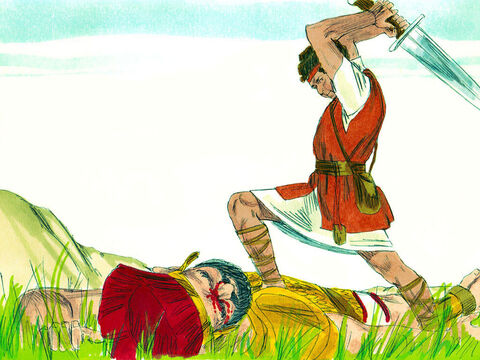 David ran took Goliath's sword out of its sheath, and cut off his head. – Slide 17