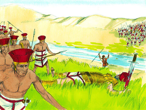 When the Philistines saw that their hero was dead, they ran away. – Slide 18
