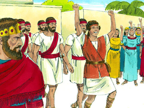 David kept Goliath's weapons and returned in triumph as a hero. – Slide 20