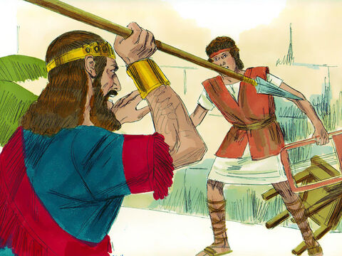 The next day as David was playing the lyre, Saul had a spear in his hand. He hurled it saying, 'I'll pin him to the wall.' But David eluded him twice. – Slide 4